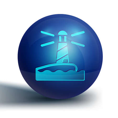 Blue Lighthouse icon isolated on white background. Blue circle button. Vector