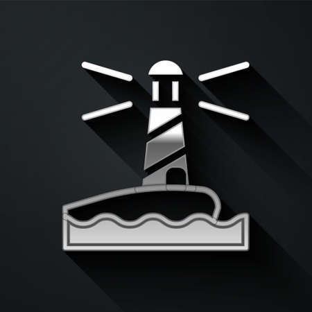 Silver Lighthouse icon isolated on black background. Long shadow style. Vector