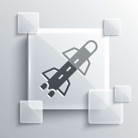 Grey Rocket icon isolated on grey background. Square glass panels. Vector Vettoriali