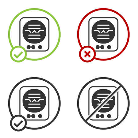 Black Attitude indicator is an instrument used in an aircraft to inform the pilot of the orientation of the aircraft icon isolated on white background. Circle button. Vector