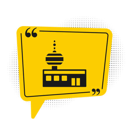 Black Airport control tower icon isolated on white background. Yellow speech bubble symbol. Vector Vettoriali