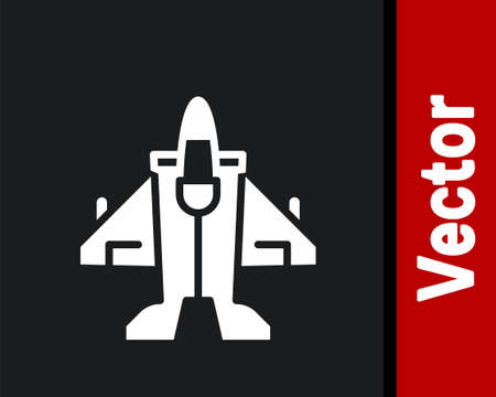 White Jet fighter icon isolated on black background. Military aircraft. Vector