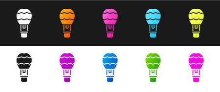Set Hot air balloon icon isolated on black and white background. Air transport for travel. Vector