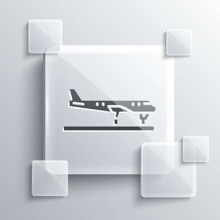 Grey Plane icon isolated on grey background. Flying airplane icon. Airliner sign. Square glass panels. Vector