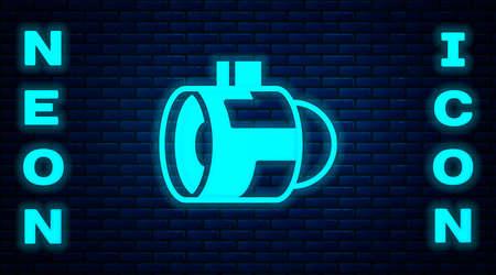 Glowing neon Jet engine turbine icon isolated on brick wall background. Plane turbine. Airplane equipment. Jet propeller. Aviation service. Motor running. Vector 向量圖像