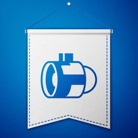 Blue Jet engine turbine icon isolated on blue background. Plane turbine. Airplane equipment. Jet propeller. Aviation service. Motor running. White pennant template. Vector