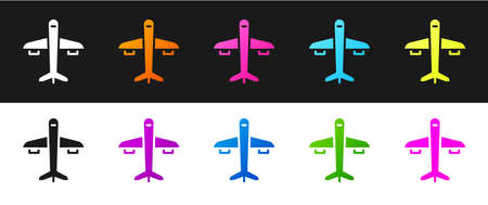 Set Plane icon isolated on black and white background. Flying airplane icon. Airliner sign. Vector