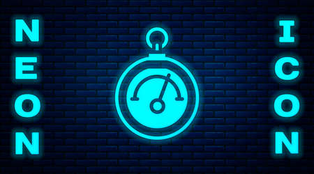 Glowing neon Barometer icon isolated on brick wall background. Vector