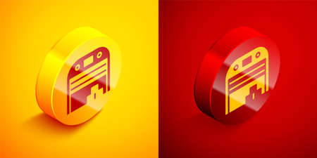 Isometric Aircraft hangar icon isolated on orange and red background. Circle button. Vector 矢量图像