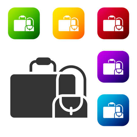 Black Suitcase for travel icon isolated on white background. Traveling baggage sign. Travel luggage icon. Set icons in color square buttons. Vector