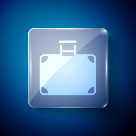 White Suitcase for travel icon isolated on blue background. Traveling baggage sign. Travel luggage icon. Square glass panels. Vector