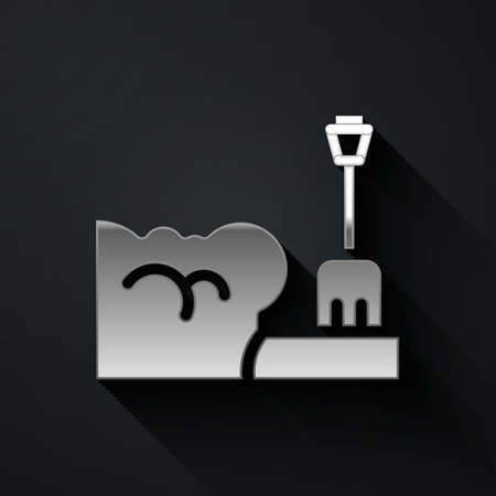 Silver Shovel in snowdrift icon isolated on black background. Long shadow style. Vector Ilustracja