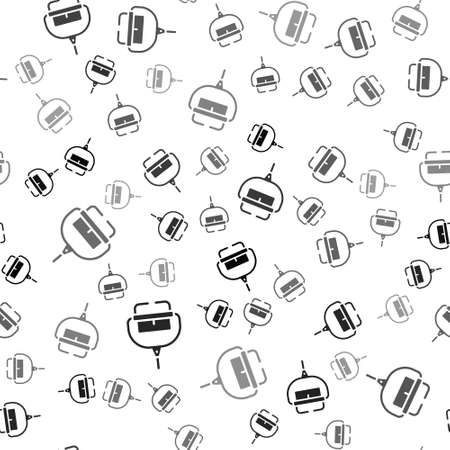 Black Ski lift icon isolated seamless pattern on white background. Vector