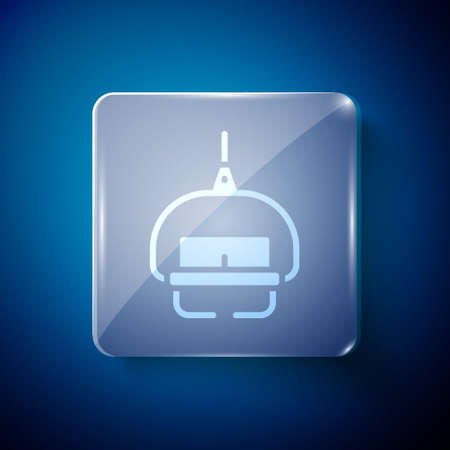 White Ski lift icon isolated on blue background. Square glass panels. Vector
