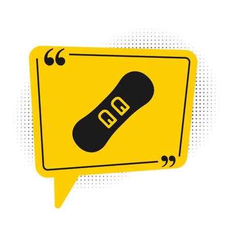 Black Snowboard icon isolated on white background. Snowboarding board icon. Extreme sport. Sport equipment. Yellow speech bubble symbol. Vector