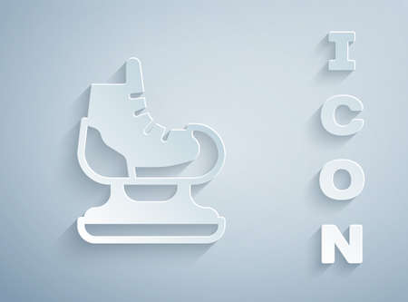 Paper cut Skates icon isolated on grey background. Ice skate shoes icon. Sport boots with blades. Paper art style. Vector