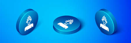 Isometric Winter athlete icon isolated on blue background. Blue circle button. Vector