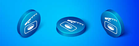 Isometric Winter fishing icon isolated on blue background. Blue circle button. Vector