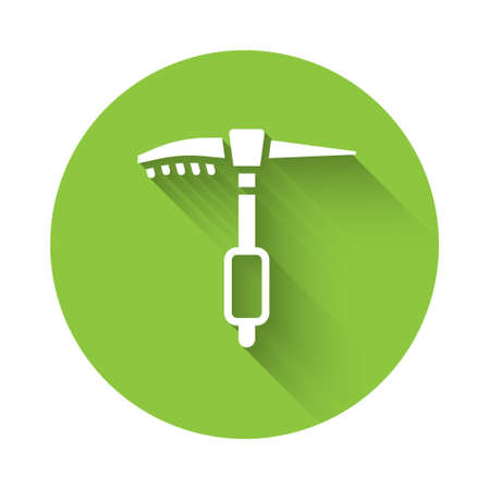 White Ice axe icon isolated with long shadow. Montain climbing equipment. Green circle button. Vector