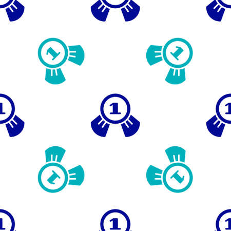 Blue Medal icon isolated seamless pattern on white background. Winner symbol. Vector