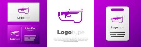 Logotype Biathlon rifle icon isolated on white background. Ski gun. Logo design template element. Vector Ilustração