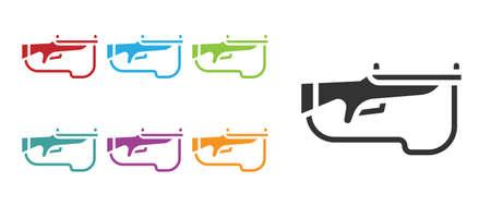 Black Biathlon rifle icon isolated on white background. Ski gun. Set icons colorful. Vector Ilustração