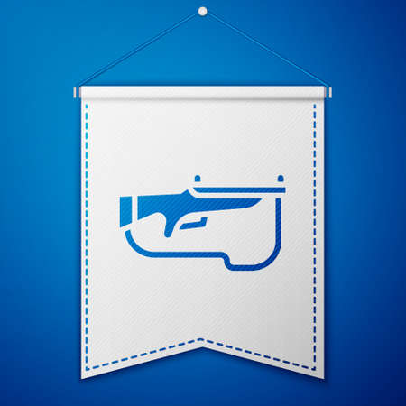Blue Biathlon rifle icon isolated on blue background. Ski gun. White pennant template. Vector Ilustração