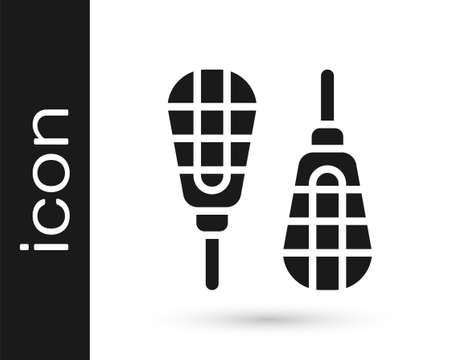 Black Snowshoes icon isolated on white background. Winter sports and outdoor activities equipment. Vector 向量圖像