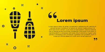 Black Snowshoes icon isolated on yellow background. Winter sports and outdoor activities equipment. Vector