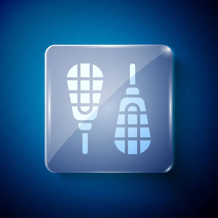 White Snowshoes icon isolated on blue background. Winter sports and outdoor activities equipment. Square glass panels. Vector