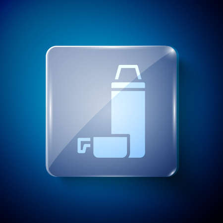 White Thermos container icon isolated on blue background. Thermo flask icon. Camping and hiking equipment. Square glass panels. Vector