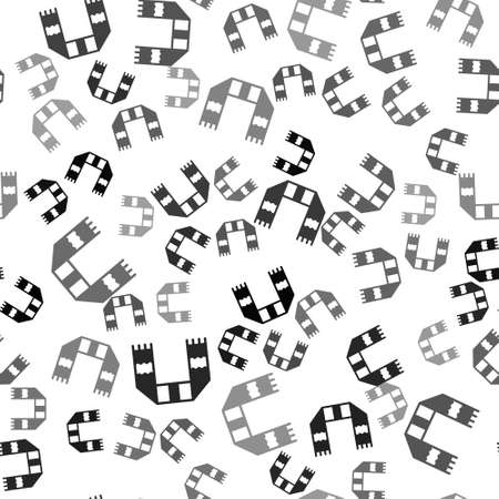 Black Winter scarf icon isolated seamless pattern on white background. Vector