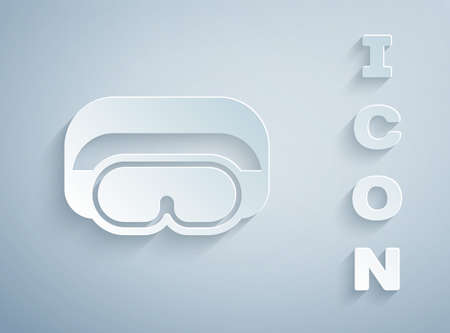 Paper cut Ski goggles icon isolated on grey background. Extreme sport. Sport equipment. Paper art style. Vector