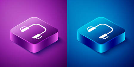 Isometric Winter headphones icon isolated on blue and purple background. Earmuffs sign. Square button. Vector