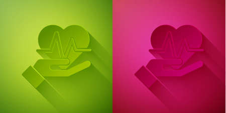 Paper cut Heart rate icon isolated on green and pink background. Heartbeat sign. Heart pulse icon. Cardiogram icon. Paper art style. Vector 向量圖像