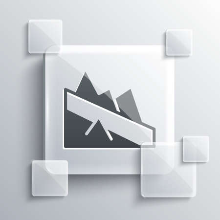 Grey Mountain descent icon isolated on grey background. Symbol of victory or success concept. Square glass panels. Vector