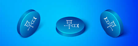 Isometric Crutch or crutches icon isolated on blue background. Equipment for rehabilitation of people with diseases of musculoskeletal system. Blue circle button. Vector