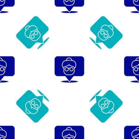 Blue Nursing home building icon isolated seamless pattern on white background. Health care for old and sick people. Center for retired people. Vector Illusztráció