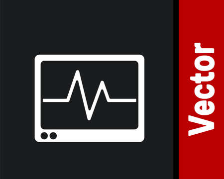 White Computer monitor with cardiogram icon isolated on black background. Monitoring icon. ECG monitor with heart beat hand drawn. Vector 向量圖像