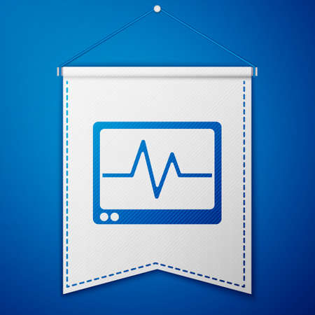 Blue Computer monitor with cardiogram icon isolated on blue background. Monitoring icon. ECG monitor with heart beat hand drawn. White pennant template. Vector 向量圖像