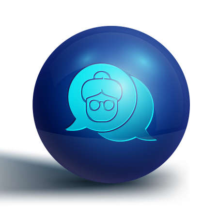 Blue Grandmother icon isolated on white background. Blue circle button. Vector Illustration