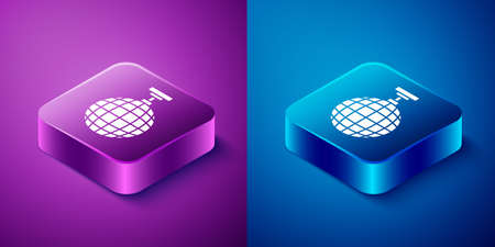 Isometric Disco ball icon isolated on blue and purple background. Square button. Vector