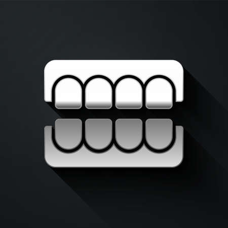 Silver False jaw icon isolated on black background. Dental jaw or dentures, false teeth with incisors. Long shadow style. Vector Stock Illustratie