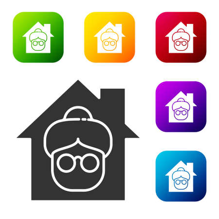 Black Nursing home building icon isolated on white background. Health care for old and sick people. Center for retired people. Set icons in color square buttons. Vector Illusztráció