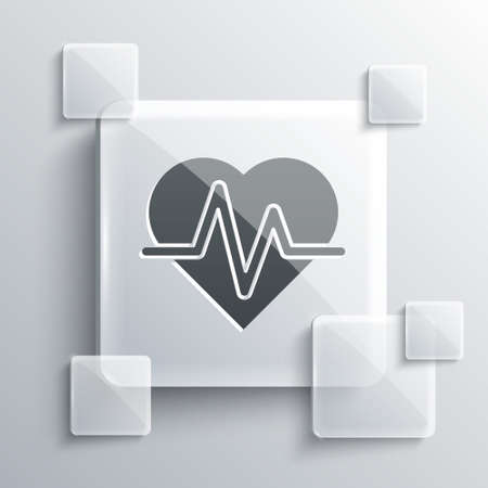 Grey Heart rate icon isolated on grey background. Heartbeat sign. Heart pulse icon. Cardiogram icon. Square glass panels. Vector 向量圖像