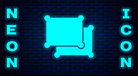 Glowing neon Rectangular pillow icon isolated on brick wall background. Cushion sign. Vector