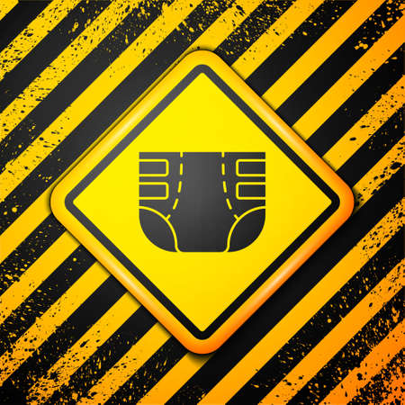 Black Adult diaper icon isolated on yellow background. Warning sign. Vector Stok Fotoğraf - 157387647