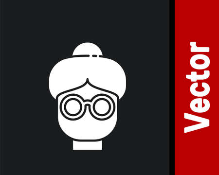 White Grandmother icon isolated on black background. Vector