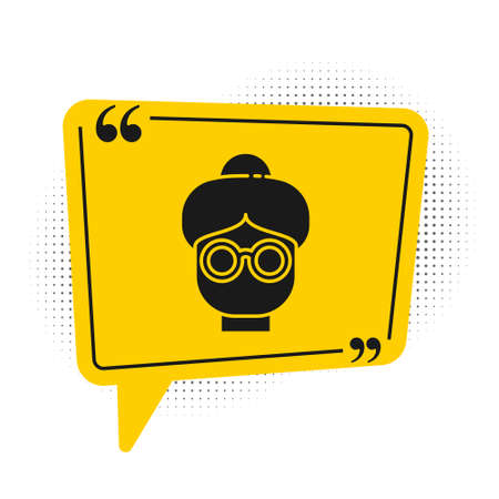 Black Grandmother icon isolated on white background. Yellow speech bubble symbol. Vector Illustration
