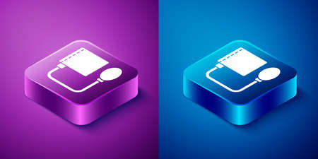 Isometric Blood pressure icon isolated on blue and purple background. Square button. Vector